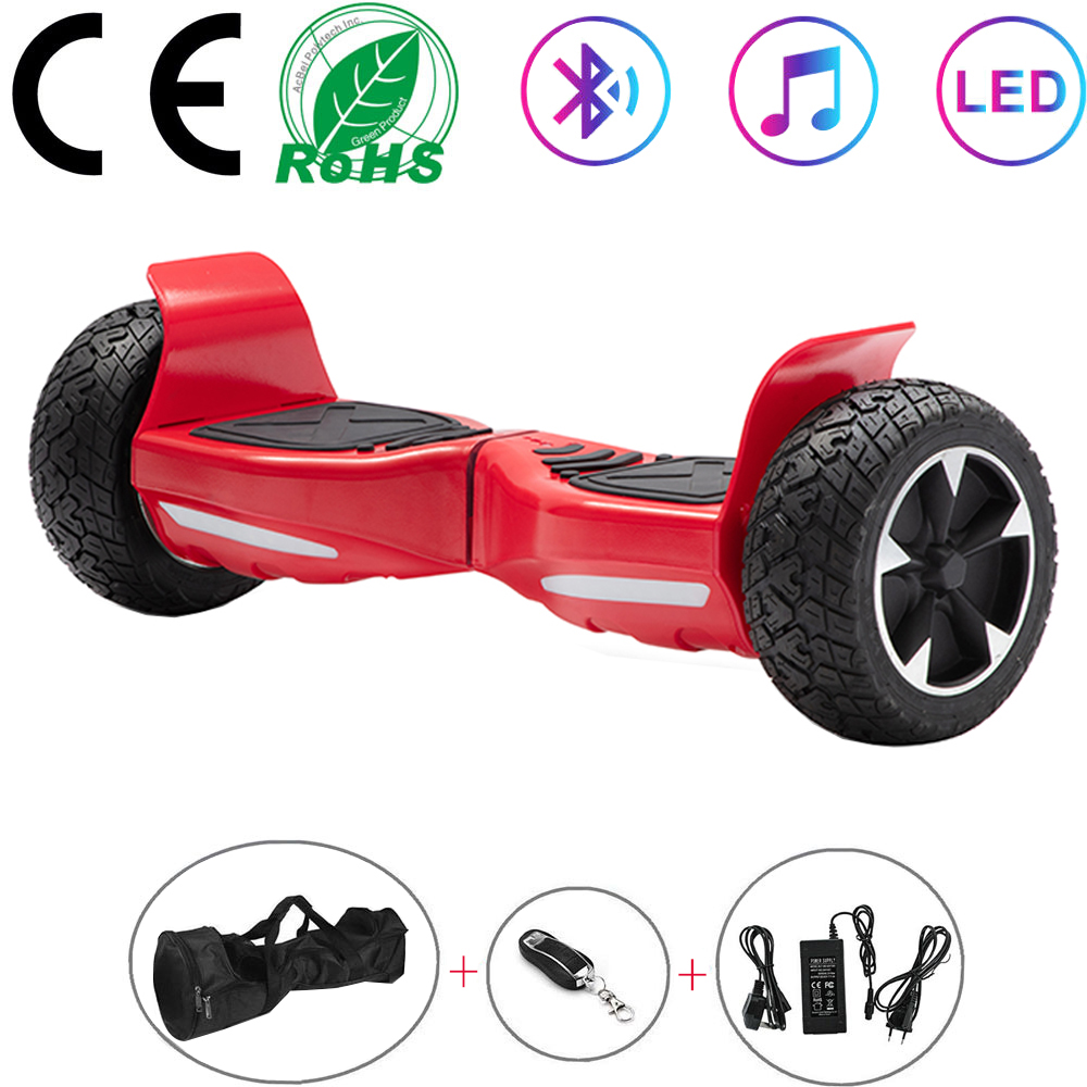 Scooter elétrico vermelho 8.5 Polegada hoverboard bluetooth todo o terreno auto-balanceamento scooter duas rodas placa de equilíbrio fora de estrada + chave + saco