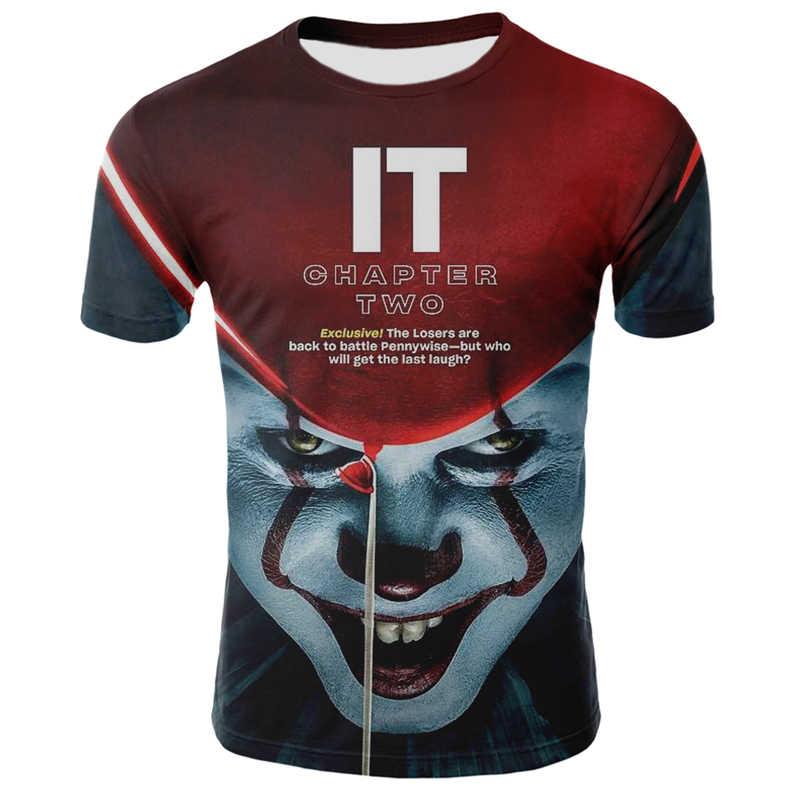 2020 estate di nuova vendita calda pagliaccio 3D stampato T-shirt selvaggio degli uomini faccia della camicia degli uomini casuali 3d clown manica divertente t-Shirt top e t