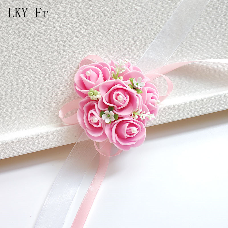 LKY Fr Wrist Corsage Bridesmaid Bride Wedding Bracelet Flower Silk Rose White Pink Wedding Corsage Bracelet Marriage Accessories