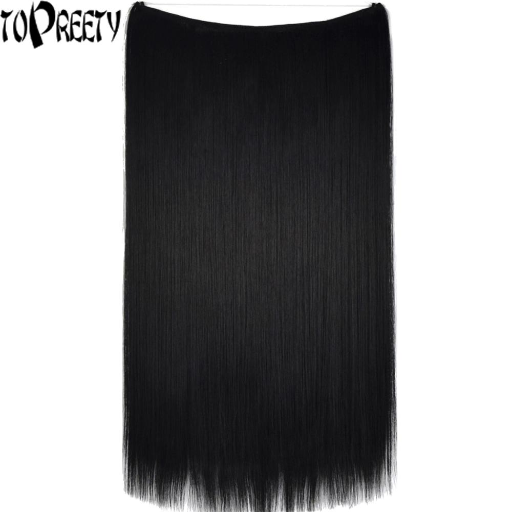TOPREETY Heat Resistant B5 Synthetic Hair 50g Elasticity Invisible Wire Halo Hair Extensions 8056