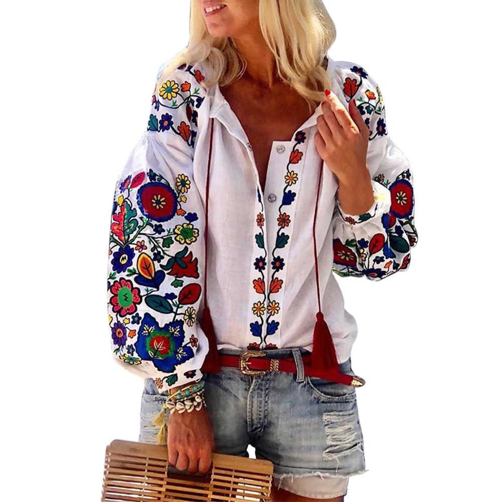 女性カジュアルシャツ花プリントブラウス 2019 秋のファッション刺繍 Blusas Mujer O ネックランタン長袖シャツトップス