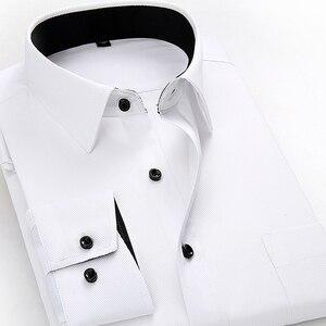Image 2 - บุรุษเสื้อทำงานแบรนด์แขนยาวนุ่มคอปกติทึบ/ชายสิ่งทอลายทแยงชุดเสื้อสีขาวชายเสื้อ