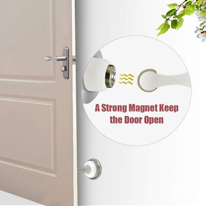 Ev Dekorasyonu'ten Kapı Stopları'de Kapı durdurucu  2 paket manyetik kapı durdurma beyaz  paslanmaz çelik kapı mandalı  çift taraflı kendinden yapışkanlı bant  kapı tutucu kapı title=