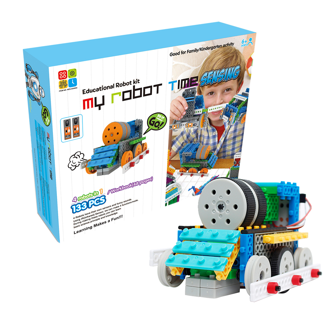4 In 1 My Robot Time Toy Land Series Robot Building Block Kit Assembly High Tech Educational Robot Toy - 2-Sensing