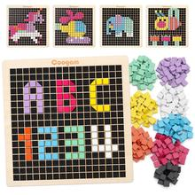 Coogam Wooden Toys, 370PCS Shape Pattern Blocks with 8 Colors, Pixel Board Game STEM Montessori Toys Gift for Kid Toddler