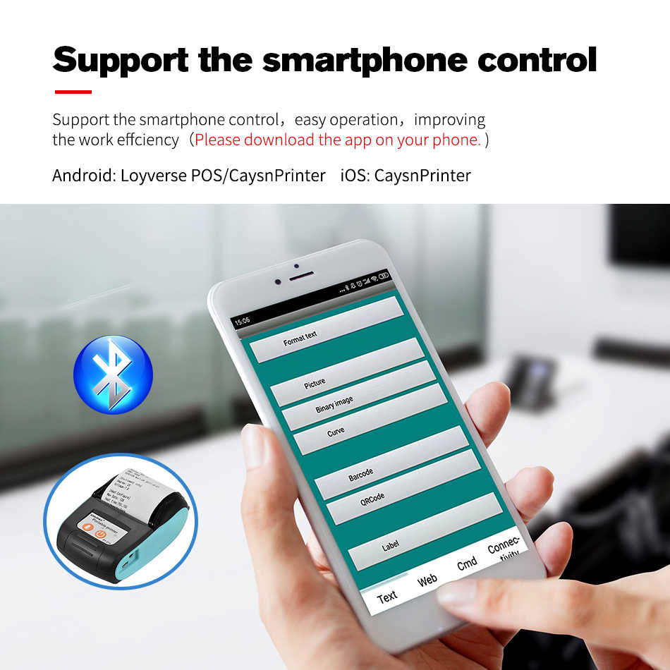 Mini portabel 58 mm Bluetooth nirkabel Printer tiket penerimaan termal untuk tagihan ponsel toko mesin printer untuk toko