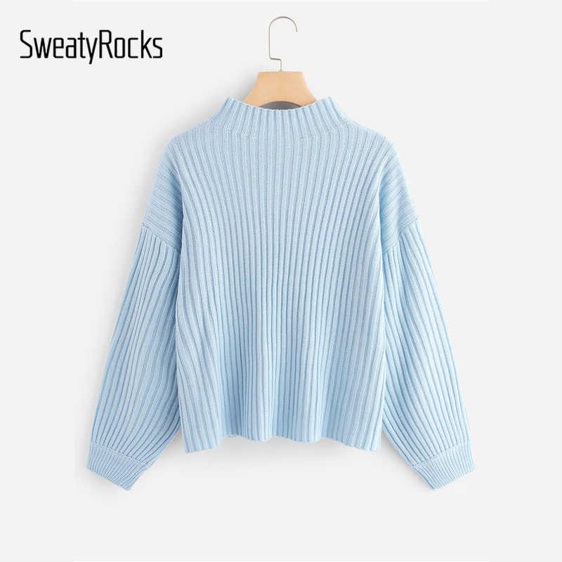 SweatyRocks azul geométrico frontal Rib Knit Sweater Stand Collar suéter Streetwear 2019 otoño mujeres Casual suéteres sólidos