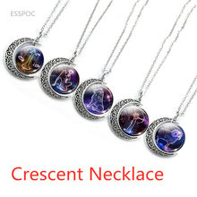 12 Zodiac Constellations Signs Glass Dome Crescent Moon Necklace Fashion Jewelry for Women Aries Gemini Cancer Leo Birthday Gift(China)