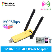 PzzPss High Speed 1200Mbps USB 3.0 Wifi Adapter Dual-Band Wireless USB Wifi Antenna 5GHz 2.4Ghz Network Card For Laptop PC