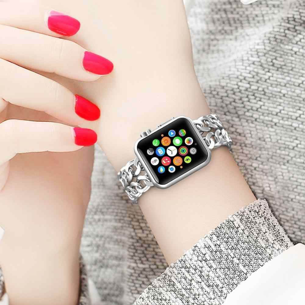 Per di Apple Orologio 5 4 40 Millimetri 44 Millimetri Cinturini in Acciaio Bracciale in Acciaio Cinturino di Lusso Della Fascia per Iwatch Serie 5 4 3 38 Millimetri 42 Millimetri in Oro Rosa