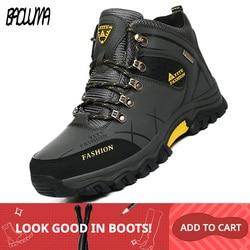 Botas de nieve de invierno de marca para hombre, zapatillas de deporte de cuero impermeables de alta calidad para hombre, Botas de senderismo para hombre, zapatos de trabajo 39-47
