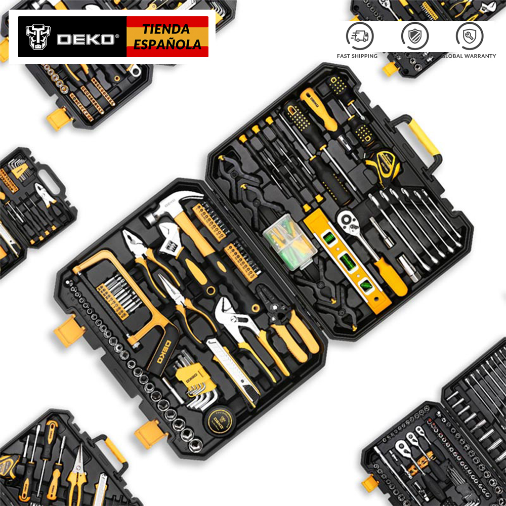 DEKO 46-Piece Hand Tool Set General Household Hand Tool Kit with Plastic Toolbox Storage Case Wrench Screwdriver Socket