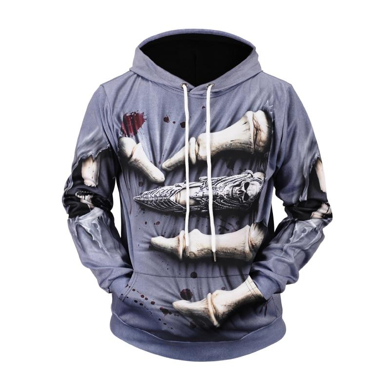 Funny Horror Halloween Pullover Hoodies Men/Women 3D Print Skeleton Skulls Polyester Sweatshirts With Hood Male Winter Clothes