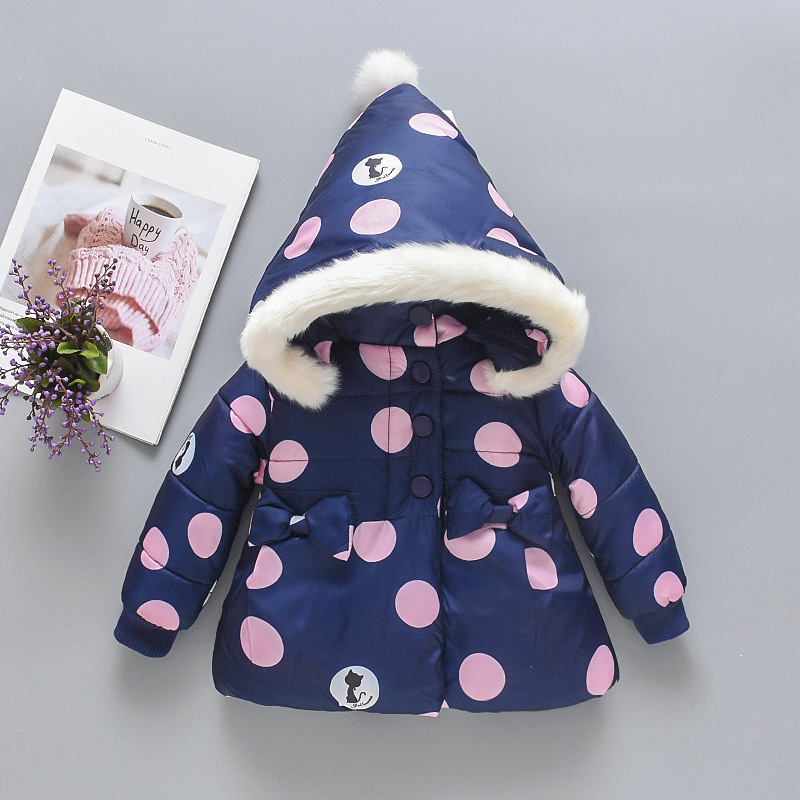 CYSINCOS Baby Girls Boys Winter Coats Dot and Cat Print Infant Cute Hooded Jacket For Kids Velvet Coat Autumn Outwear