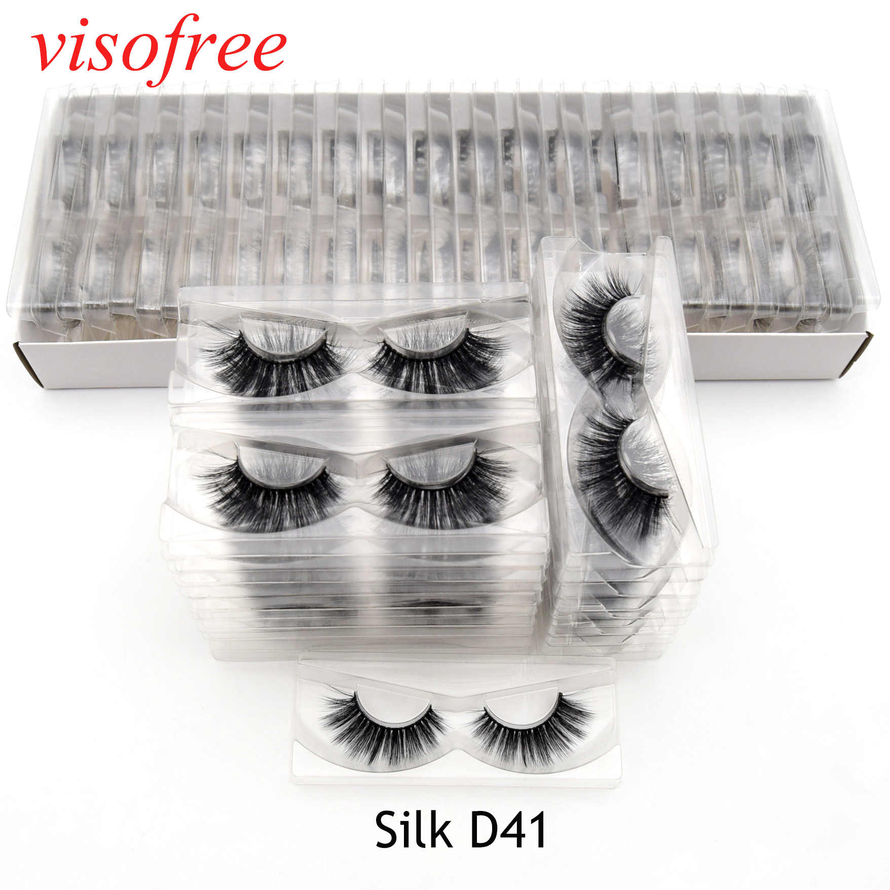 Visofree 30 пар/лот 3D шелковые ресницы ручной работы полная полоса ресницы шелковые отдельные полосы толстые ресницы накладные ресницы Silk-D41