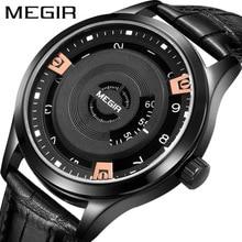 Megir Mens Fashion Black Leather Quartz Wristwatches Hot Water Resistant Battery Watch for Man Male1067