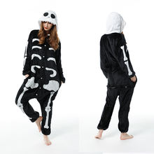 Пижама в виде скелета для взрослых Зимняя женская фланелевая