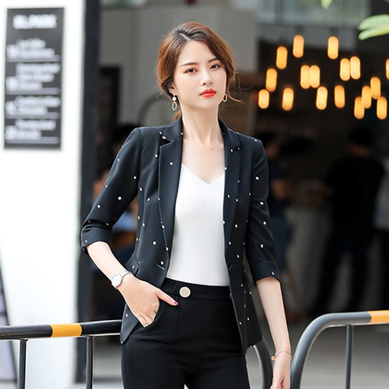 Women Elegant Half Sleeve Blazer Office Lady Female Polka Dot Single Button Blazers Notched Plus Size Blazer