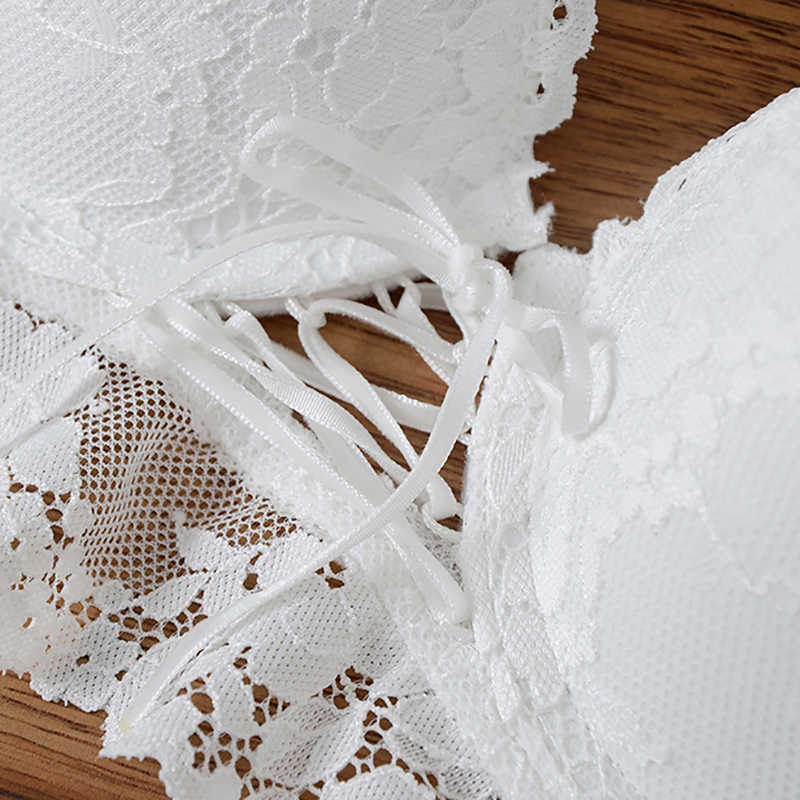 Seksi dantel sutyen dize ile süper Push Up seti iç çamaşırı kadın Broadside dantel sapanlar sütyen şeffaf külot iç çamaşırı beyaz siyah