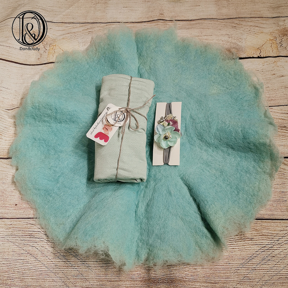 Don&Judy 100% Fluffy Wool Felt Blanket With Matched Wrap And Headband Real Wool Basket Filler Newborn Photo Props Posing Blanket