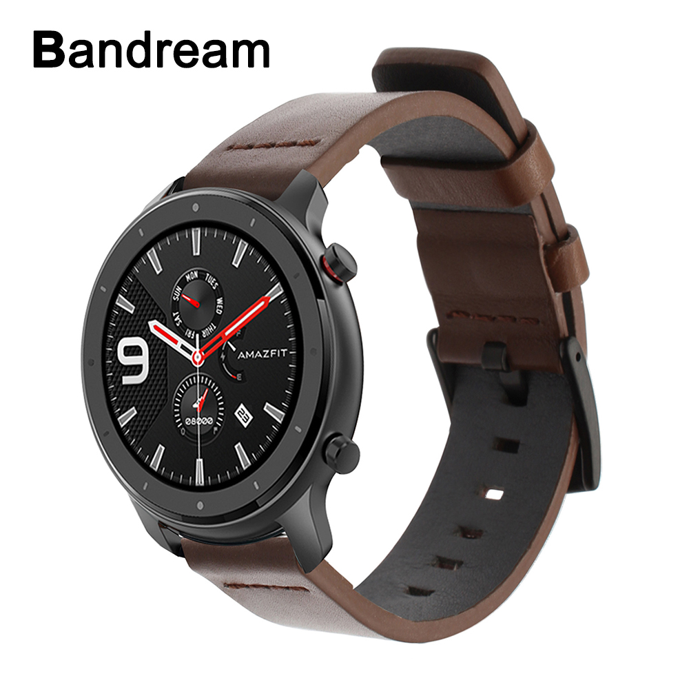 Top Layer Genuine Leather Watchband For Amazfit GTR 47mm 42mm Quick Release Watch Band Stainless Steel Buckle Strap Wristband
