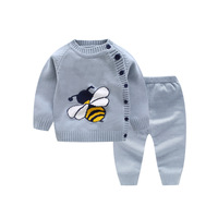 Newborn Girl Sweater Tops + Pants Children Clothing Sets Autumn Baby Outfit Set Girl Tracksuit Boys Knitted Suit Kid Clothes