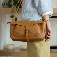EUMOAN Vintage original simple shoulder bag first layer cowhide large capacity soft leather Messenger bag цены онлайн