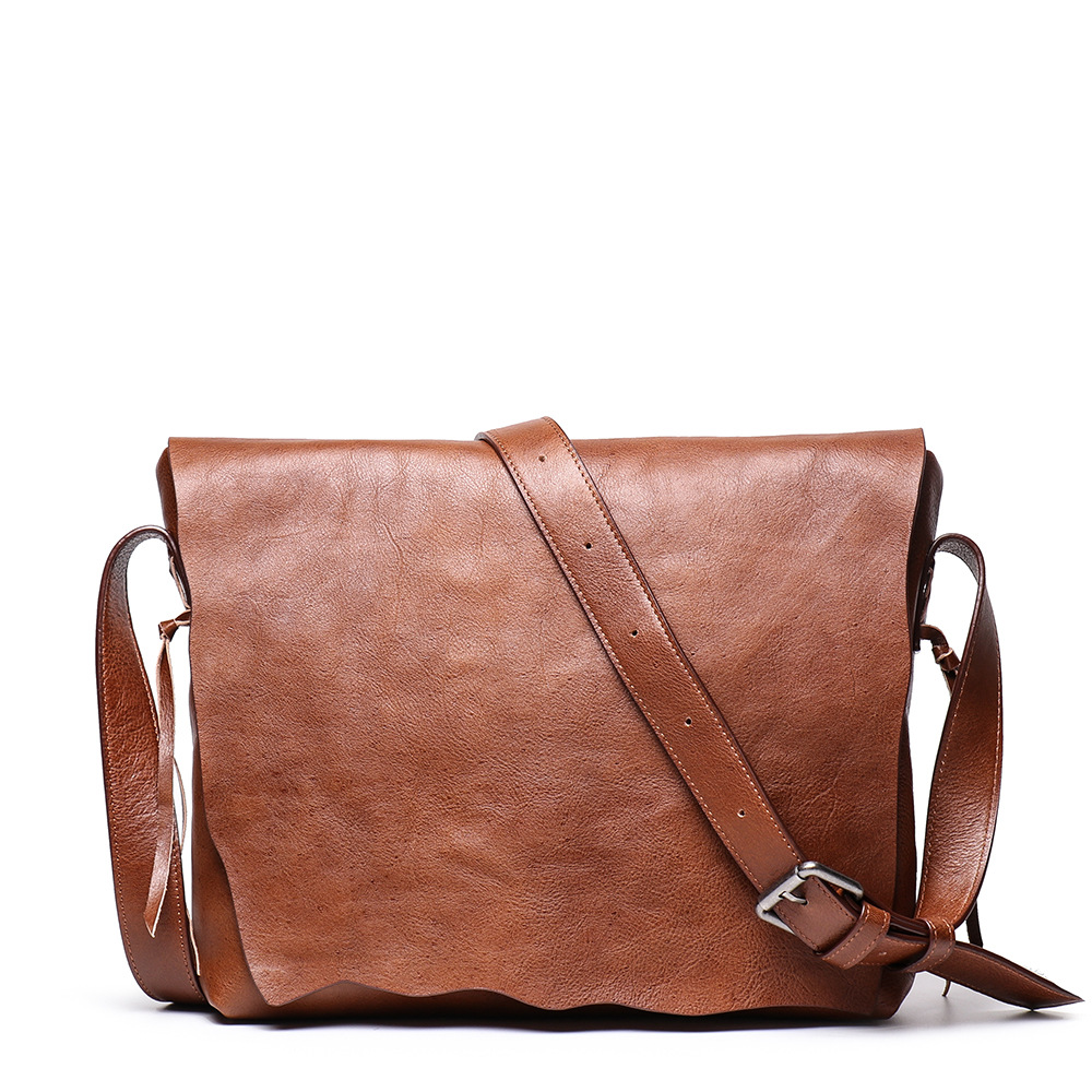 Top Leather Men's Handbags Retro Crazy Horse Leather Briefcases Casual Bags British Foreign Trade Leather Men's In Brown Color
