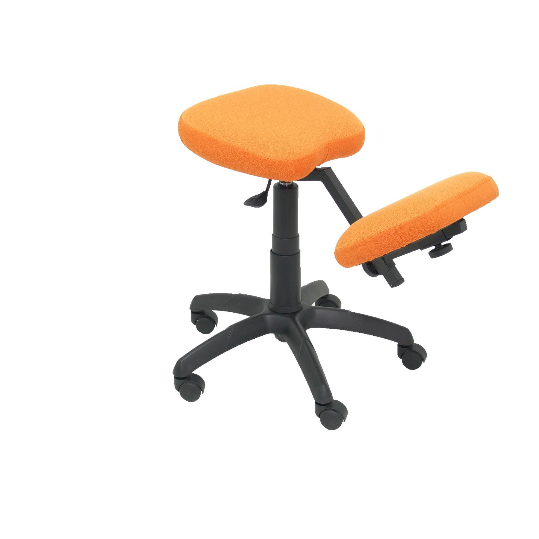 Office's Stool Ergonomic Swivel And Dimmable In High Altitude Up Seat Upholstered In BALI Tissue Orange (RODILLER