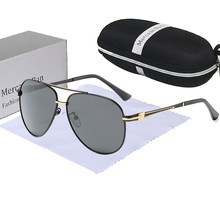 Marca designer uv400 óculos de sol polarizados dos homens alta qualidade óculos de condução metal sem aro retro gafas sol hombre