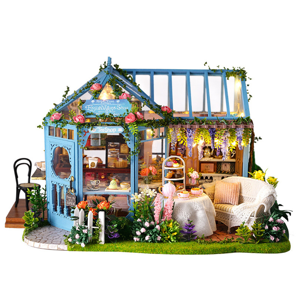 DIY Dollhouse Wooden Doll Houses Miniature Doll House Furniture Kit Casa Music Led Toys For Children Birthday Gift A68D