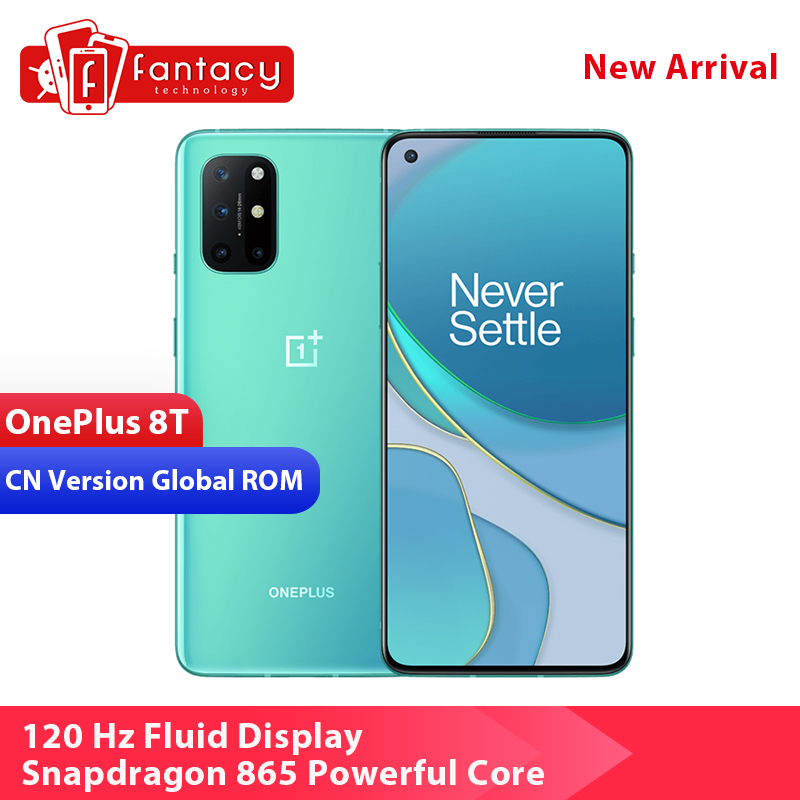 "ROM Global OnePlus 8 T 8 T Smartphone Snapdragon 865 5G 6,55 ""120Hz Pantalla AMOLED 48MP Quad Camera 4500 mAh NFC Android 11"