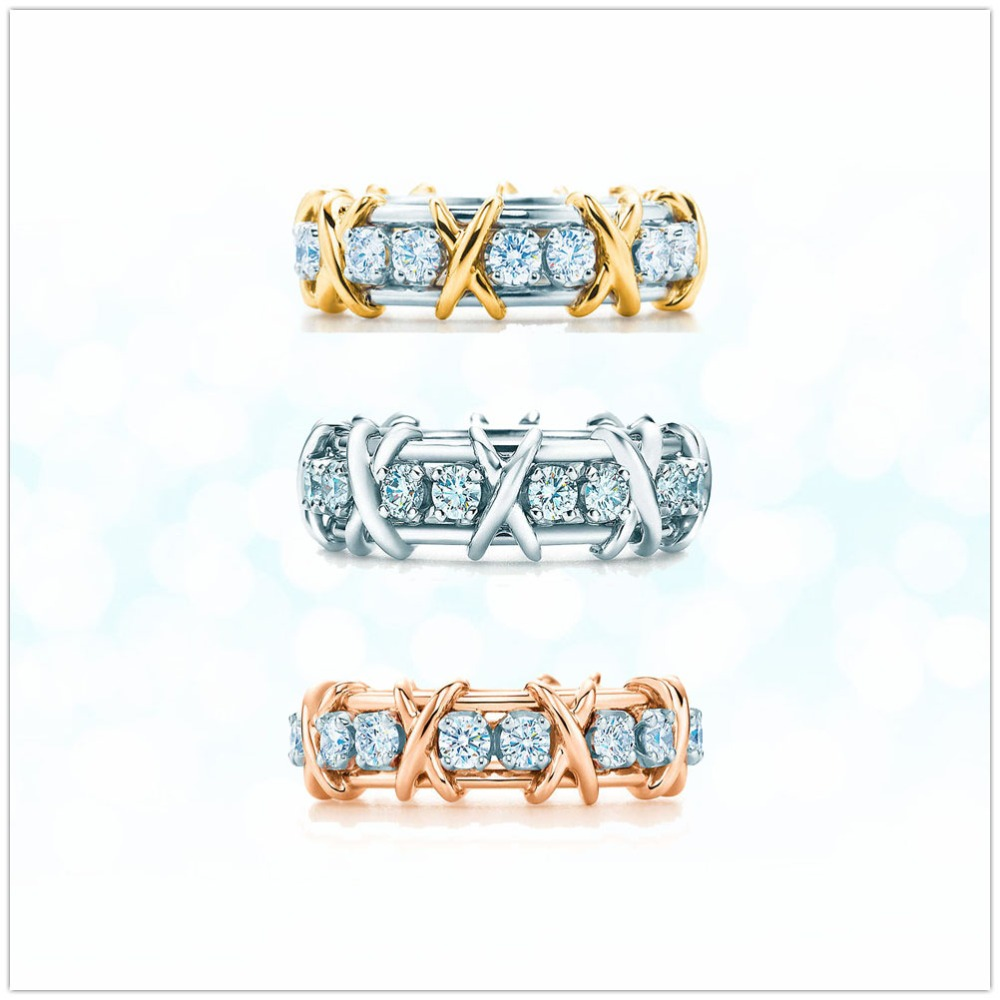 Sterling Silver 925 Classic Pop Fashion X Zircon Ladies Ring Jewelry Holiday Gift