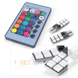 Car 6 Super T10 5050 RGB Colorful 12 SMD LED Light Bulb 360 Degrees+Wireless Remote Controller w/ Battery CR2025 DC 12V