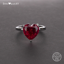 Shipei Real Sapphire Ruby Heart Rings for Women Citrine Amethyst Gemstone Ring 925 sterling Silver Engagement