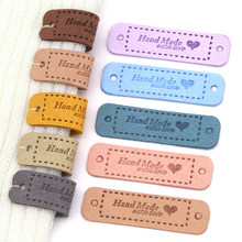 20Pcs Hand Made With Love Labels Tags For Clothes Handmade PU Leather Labels DIY Hats Bags Sewing Tags Garment Accessories