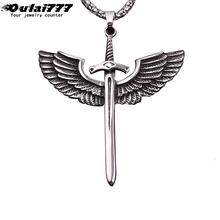 oulai777 polishing stainless steel mens necklaces & pendants fashion crosses chain male Accessories wing cross pendant necklace