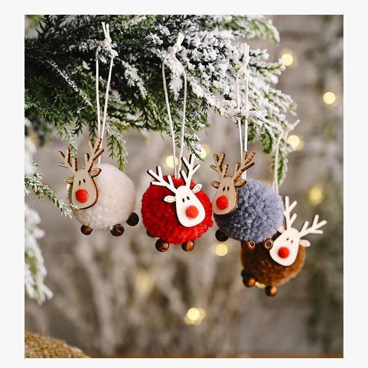 Pohon Natal Tahun Baru Hadiah Kayu Alami Elk Sepatu Rusa Ornamen Liontin Menggantung Kerajinan Xmas Noel 2021 Rumah Mobil Dekorasi 62614