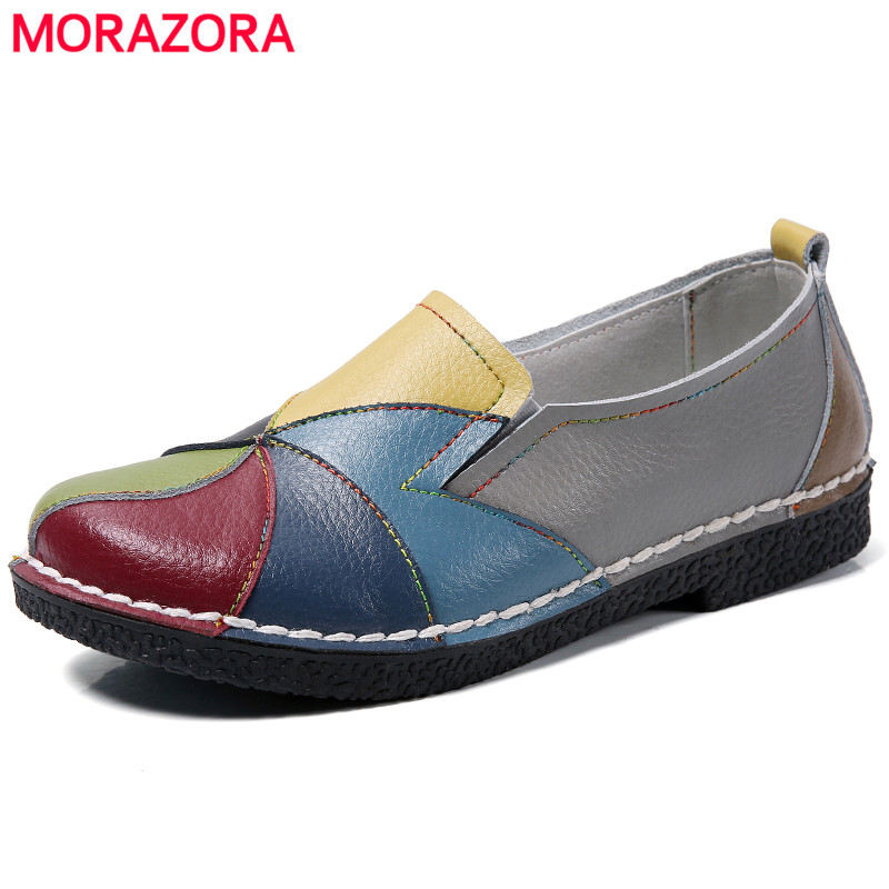 MORAZORA Plus size 35-44 New genuine leather shoes woman mixed colors casual women flats fashion spring summer lady flat shoes