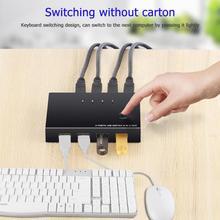 USB переключатель KVM переключатель коробка 4 USB2.0 коммутатор ПК разделитель для клавиатуры мышь с 4 USB кабели поддержка дропшиппинг