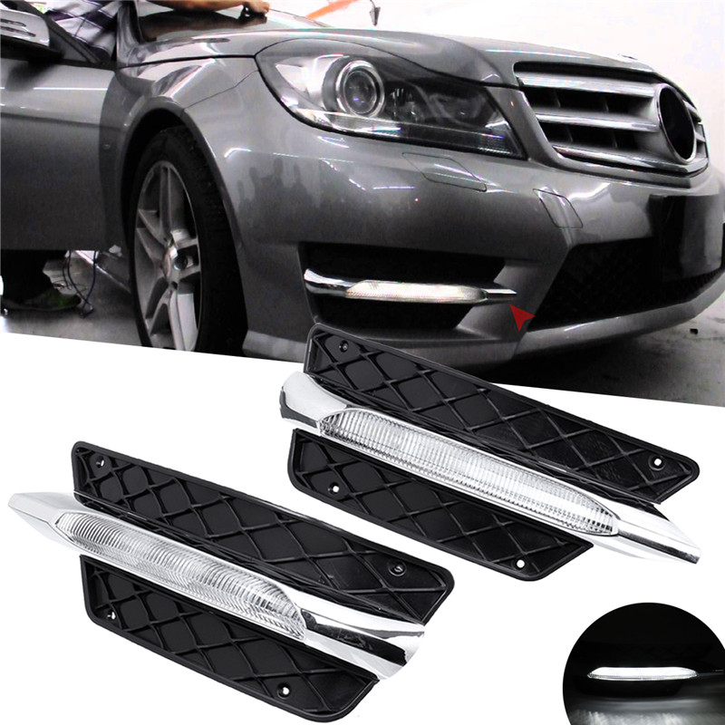 R/L Front Bumper <font><b>Grill</b></font> Molding LED Fog Light Daytime Running Light Fog Lamp For Mercedes For <font><b>Benz</b></font> <font><b>W204</b></font> C-Class 2012-14 DRL image