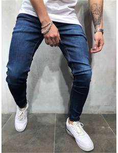 Skinny Jeans Jogger Mens Pants MARKA Classic Men Stretch Man Zip KRALI Blue