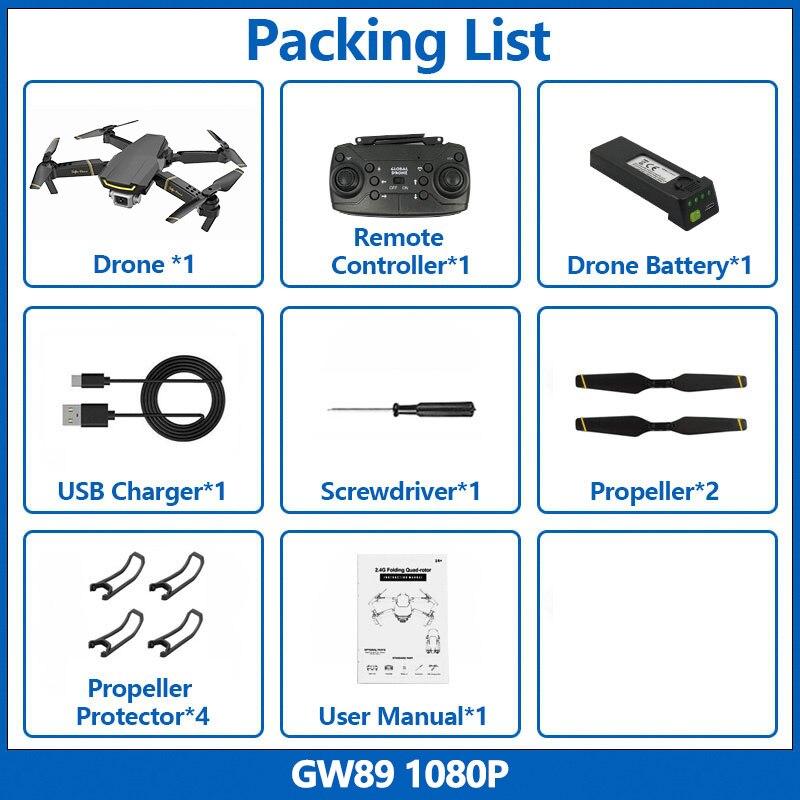Global Drone GW89 Foldable Mini Drone RC Quadrocopter with Camera HD RC Helicopter Camera FPV Drones VS M69 XS816 E58 E520