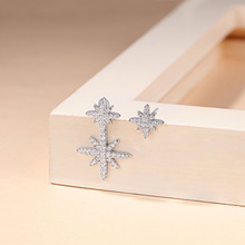 S925 Asymmetric Stars Stud Earrings Women Jewelry Accessories 100% 925 Sterling CZ Zircon Earring Korean Style Female Gift