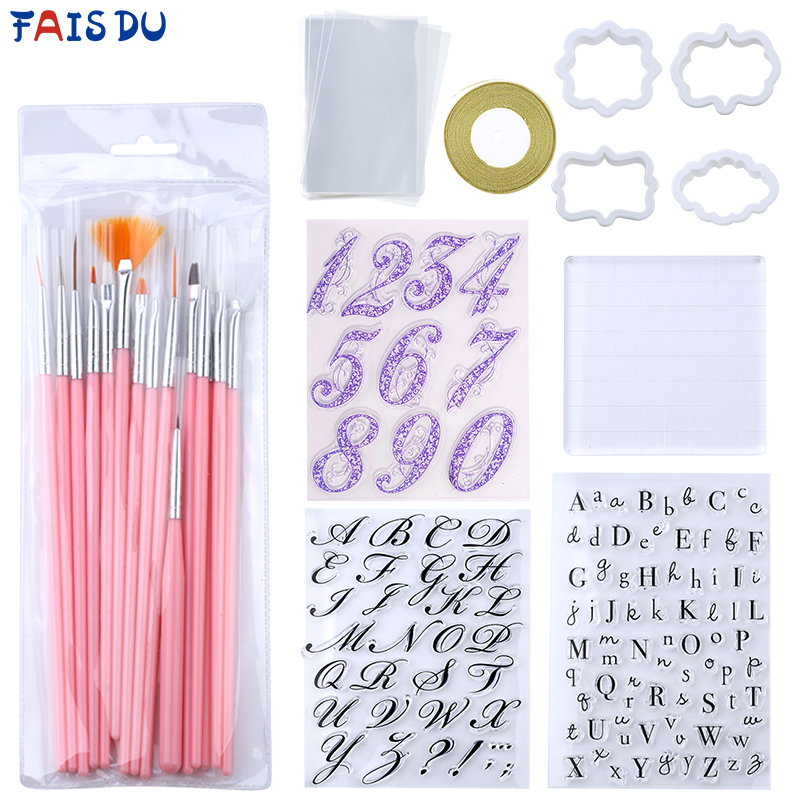 6pcs Cake Cookie Decoration Tool Set Letter Alphabet Cookie Cutter Embosser Stamp Sticky Decorating Fondant Cutter Tools