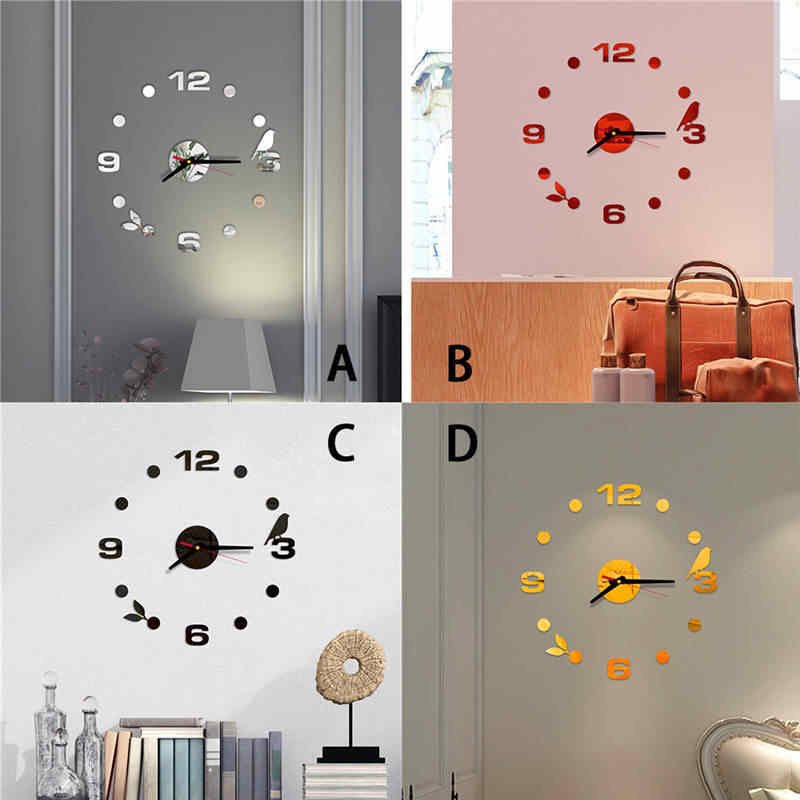 2019 Reloj de pared wall clock 3D DIY Roman Numbers Acrylic Mirror Wall Sticker Clock Home Decor Mural Decals Decor saat 661GZ10