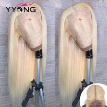 Perruque Lace Wig Remy naturelle lisse – YYong, Blond 613, 6x1, pre-plucked, avec Baby Hair, Transparent HD, 28 30 pouces