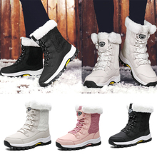 Snow Boots Waterproof Non-slip Winter Boots Women Fur Lined Thick Warm Boots Shoes Solid Lace Up Outdoor Shoes botas mujer D25 stylesowner lace up elastic knitting sock boots platform thick heels shoes round toe fashion sneaker boots non slip botas mujer