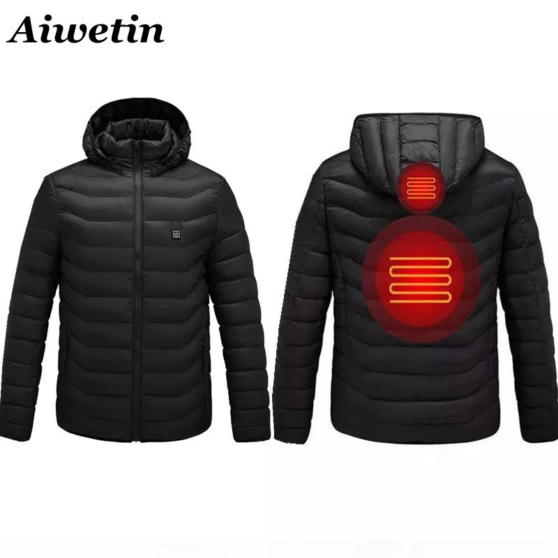 NWE Men Heated Jackets Outdoor Coat USB Electric Battery Long Sleeves Heating Hooded Jackets Warm Winter Thermal Clothing