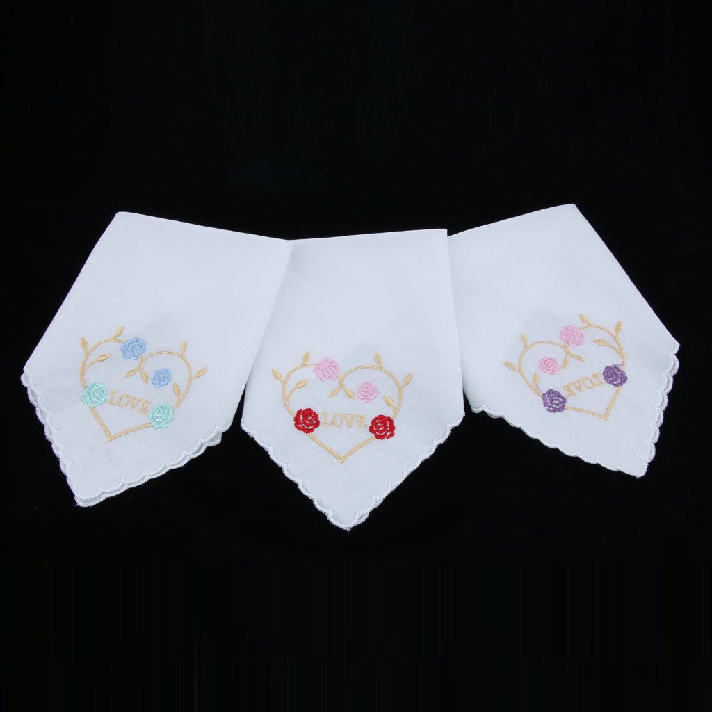 Ladies White Handker Chief Womens Cotton Handkerchief Floral Embroidered With Heart 3 Pack – Assorted